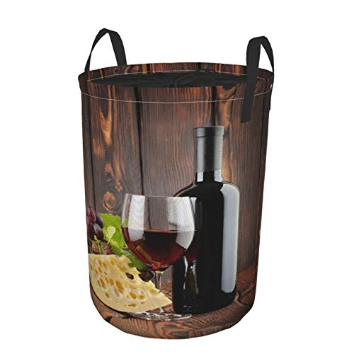 MEJX Plegable Grande Cesto de Ropa Sucia para el Hogar,Botella de Vino Tinto Cabernet Queso de Vidrio Uvas sobre tablones de Madera,Lavandería Cesta de Almacenaje Impermeable con Cordón,16.5' x 21.6'