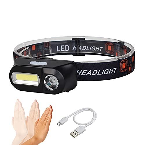 QSMGRBGZ Linterna Frontal,Sensor de Funcionamiento 150 LM, Faro de COB En Funcionamiento, Antorcha Ultrabrillante con 5 Modos De Brillo Ajustables (Recargable por USB)
