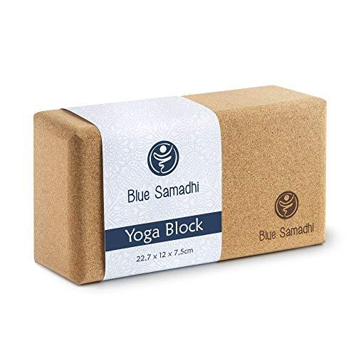 Blue Samadhi Premium Yoga Block - ideal für Anfänger und Profis geeignet - der nachhaltige Yogablock für Ihr Zuhause - Yoga Zubehör aus Kork - Ihr Yogaklotz für jeden Tag