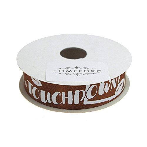 Homeford Football Touchdown Satin Ribbon, Brown, 7/8-Inch, 4-Yard