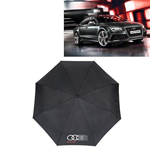 YYD Auto-Spielraum-faltender Regenschirm, Regenschirm Ergonomischer Griff Auto Öffnen und Schließen, kompaktes bewegliches Regenschirm mit Auto-Logo,A_UDI