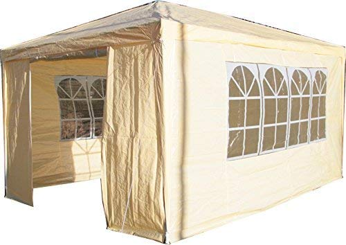Airwave 3 x 4m Party Tent Gazebo Marquee with Unique WindBar and Side Panels 120g Waterproof Canopy, Beige, 120g