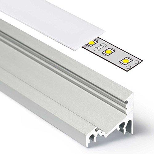 2m Aluprofil CORNER (CO) Ecke 2 Meter Aluminium Profil-Leiste eloxiert für LED Streifen - Set inkl Abdeckung-Schiene milchig-weiß opal mit Montage-Klammern und Endkappen (2 Meter milchig slide)