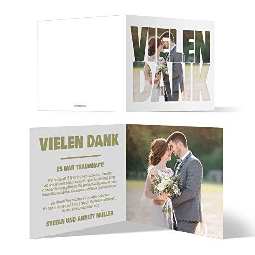 30 x Hochzeit Dankeskarten Danke Danksagungskarten Karten individuell - Fotoschrift
