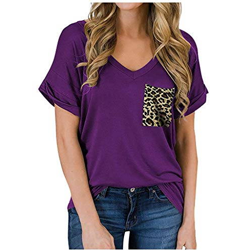 Dosoop Women's Leopard Pocket Summer Tops Short Sleeve Casual V-Neck Ruffled Loose Basic Tees Blouse T-Shirts S-XXL
