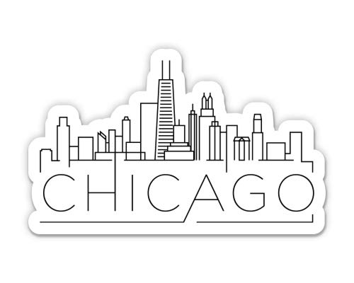 Squiddy Chicago Illinois - Vinyl Sticker Decal for Phone, Laptop, Water Bottle (3