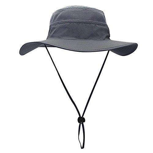egoz 'Coconut' All'aperto Cappello da Sole Protezione UV Largo Cappello Brimmed Tappo di Viaggio Traspirante Caccia Pescatora Safari Sole Giardinaggio Cappelli (Grigio)