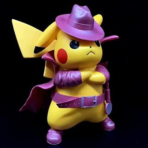 Factorydiy Modelo de Personaje Anime Pokemon Detective Pikachu Hand Office Modelo-A Alto Aprox.15CM Figura de Anime Estatua Adornos colección de Juguetes para Regalo