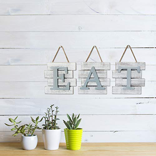 Barnyard Designs Eat Sign Wall Decor, Rustic Farmhouse Decoration for Kitchen and Home, Decorative Hanging Wooden Letters, Country Wall Art, Distressed White and Gray, 24' x 8""
