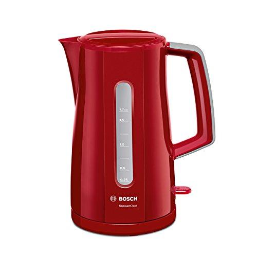 Bosch TWK3A014 CompactClass Wasserkocher (Abschaltautomatik, Überhitzungsschutz, einfache Befüllung, entnehmbarer Kalkfilter, 2.400 Watt) rot