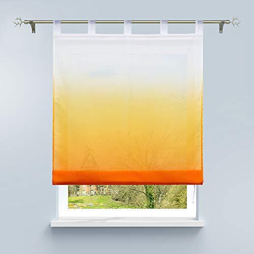 HongYa Raffrollo mit Verlauf Druck Transparenter Voile Raffgardine H/B 140/100 cm Orange Schlaufen