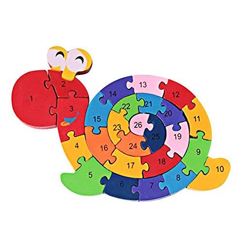 26 Bloques De Construcción Montados En Madera Alfanuméricos En Inglés Coloridos Rompecabezas De Animales En 3D para Niños Juguetes Educativos para Niños Caracol##None