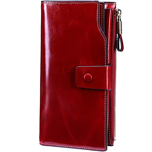 Itslife Women's RFID Blocking Large Capacity Luxury Wax Genuine Leather Clutch Wallet Card Holder Ladies Purse(Red RFID BLOCKING)