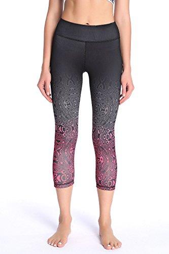 SOUTEAM Frauen Workout Capri Hosen gedruckt Gradual Change Active Yoga Leggings, Schwarz & Pink 01, XL