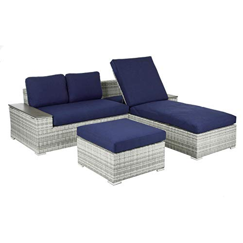 Azuma Sofa Set Sun Lounger Garden Furniture Grey Rattan Storage Tables Patio