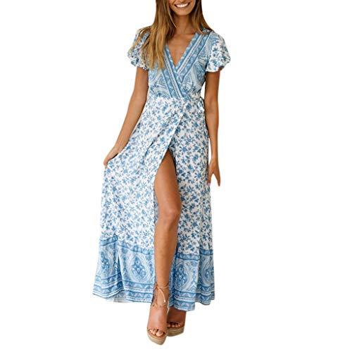 ReooLy para Mujer Boho con Cuello en V Floral Fiesta de Verano Noche Playa Vestido Largo Sundress(B-Cielo Azul,S)