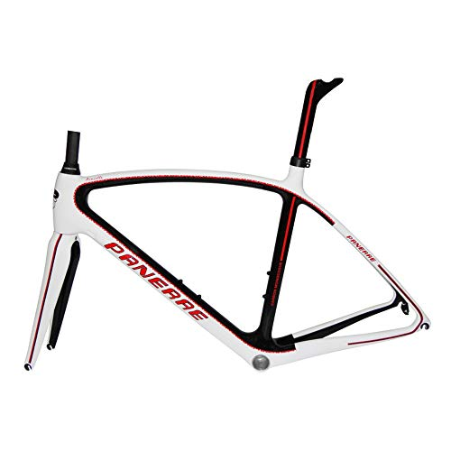 PANERAE Cuadro de Bicicleta Fibra de Carbono Ainielle Rojo Talla 55 (Incluye tija y Horquilla a Juego) 1150grs