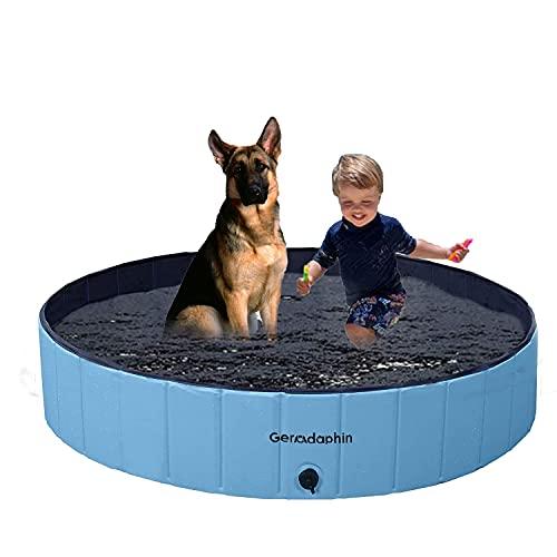 Gerodaphin Plegable Piscina para Perros, Adecuado para Perros, Resistente al Desgaste y Antideslizante de PVC Piscina Bañera para Niños, Apto para Interiores y Exteriores(120x30cm)