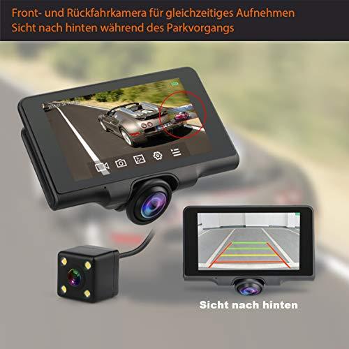 360 ° Grad Autokamera mit GPS Tracking DashCam mit Rückfahrkamera 1080P Full HD 5\' IPS Touchscreen Display, WDR, Nachtsicht, Bewegungserkennung, G-Sensor, Loop-Aufnahme