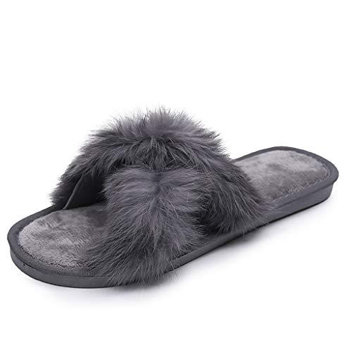 UMore Damen plüsch Hausschuhe offener Zeh Frauen bequem Kunstpelz Pantoffeln Flauschige Fell rutschfest Sandalen