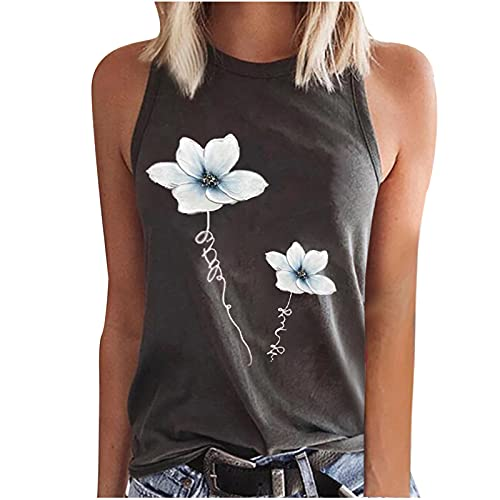 Tank Tops Loose Fitting for Women, Casual Trendy Flowers Vest Shirt Summer Sexy Sleeveless Crewneck Workout Clothing