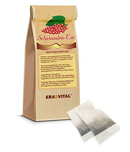 ERASVITAL® SCHISANDRA Natur-Tee 60 Teebeutel = 180 g ohne Tassenreiter I Beeren wild gesammelt und schonend getrocknet I Produziert in Deutschland.