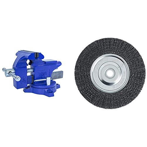 """Yost LV-4 Home Vise 4-1/2"""" (1 Pack) & Forney 72747 Wire Bench Wheel Brush, Fine Crimped with 1/2-Inch and 5/8-Inch Arbor, 6-Inch-by-.008-Inch"""