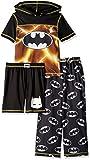 DC Comics Boys' Big 3 Piece Jersey Pajama Set, Black Batman, Small