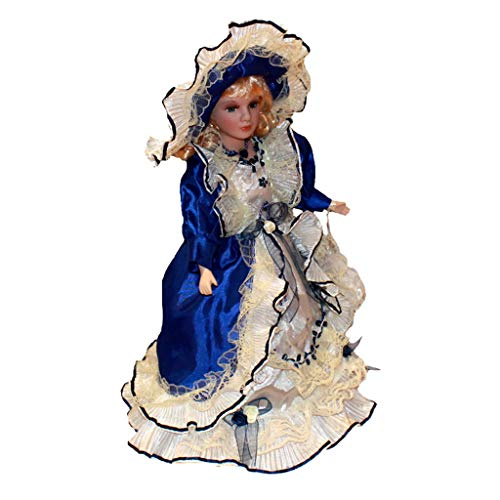 Bonarty 40cm Puppenhaus Puppen Miniatur Porzellanpuppe Viktorianische Puppe mit Blaue Kleid