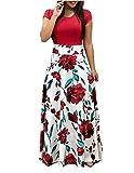GNRSPTY Mujer Vestidos Casual Verano Manga Corta de Fiesta Largos Floral Impresa Color de Contraste Boho Playa Ceremonia Noche,Color 1,S