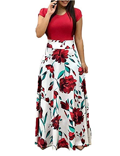 GNRSPTY Mujer Vestidos Casual Verano Manga Corta de Fiesta Largos Floral Impresa Color de Contraste Boho Playa Ceremonia Noche,Color 1,M