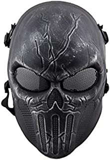 ATAIRSOFT Airsoft Skull Full Face Mask with Mesh Protection Silver Black