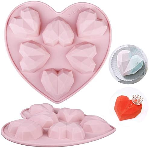 Wocuz 1 pack Diamond Heart Love Shape Cookie Molds Mousse Silicone 8 07 inch Non Sticky Chocolate product image