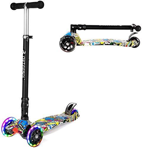 arteesol Patinete infantil plegable urbano, patinete de altura ajustable con tabla de graffiti, con ruedas de poliuretano de 125 mm, adecuado para niños y niñas de 2 a 16 años (estilo 3)