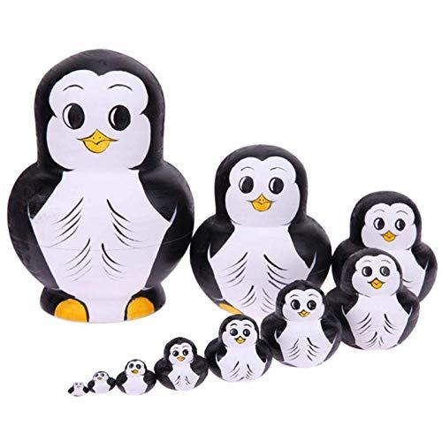 LLSM Verschachtelung hölzerner Puppe Spielzeug Penguin Muster russisch Matryoshka Puppen DIY Embryos russisch nisting Spielzeug Kinder Lernen
