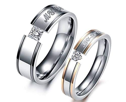 Malinmay Couple Rings Her and Her, High Polished Engraved My Love with Heart and Princess CZStainless Steel Couple Ring Sets for Couples Wedding Promise Anniversary