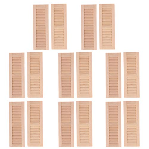 Prettyia 8 Pairs Handmade 1/12 Dollhouse Furniture Wooden Shutters Blind Window DIY Accessories Hands-On Toy