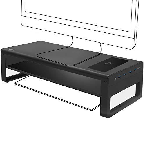 Vaydeer 2 Tier USB 3.0 Monitorständer mit kabelloser Aufladung Aluminium Monitor Stand Unterstützt Datenübertragung, Metall Monitor Ständer -Unterstützt bis zu 32 Zoll für Computer, Laptop - Schwarz