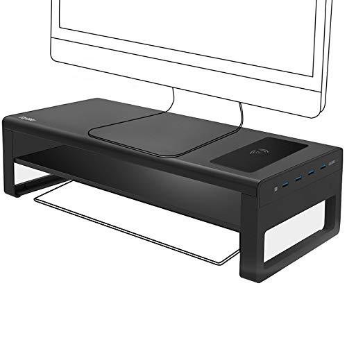 Vaydeer soporte monitor de carga inalámbrica de 2 niveles con 4 concentradores USB 3.0 Soporte monitor mesa admite transferencia de datos, Metal elevador monitor de hasta 32 pulgadas para PC, portátil