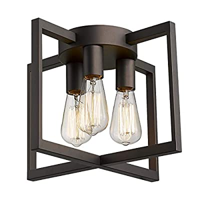 Emliviar 3-Light Ceiling Light Fixture, Industrial Semi-Flush Mount Light with Metal Cage, Oil Rubbed Bronze Finish, 2A2-CL3 ORB