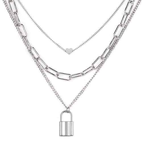 Gleamart Silver Chain Layered Necklace Lock Three Layer Necklace for Women
