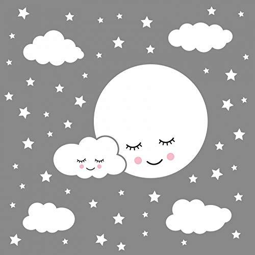 nikima Schönes für Kinder 162 Wandtattoo Vollmond mit Wolken und Sternen weiß - in 6 Größen - Babyzimmer Kinderzimmer Wanddeko Wandbild Junge Mädchen Größe 1000 x 560 mm