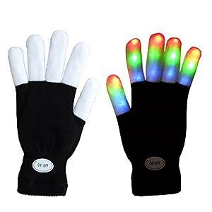Tamaño para niños Mágico 7 Modos Coloridos LED Guantes Rave Light Finger Lighting Guantes Que Destellan Guantes Unisex - Un par (Dedo Negro / Blanco)