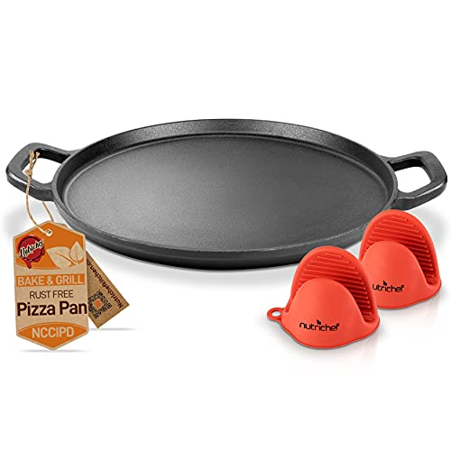 NutriChef 14  Cast Iron Baking Pan Steel Pizza W Easy Grip Gas, Electric, Glass, Induction Cooker, Oven, & Grill Campfire-2 Silicone Handles, avarage, Black