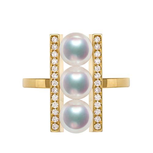 Beydodo Anillo Oro Amarillo 18 Kilates Anillo Mujer Tres Perlas Blancas con Diamante Anillo Oro con Diamante Talla 18,5
