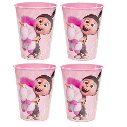 Familienkalender Taza con Agnes, compatible con vasos Disney Minions para niños, 250 ml, apto para microondas, niños, niñas, niños, regalo, sin BPA, unicornio, 4 vasos