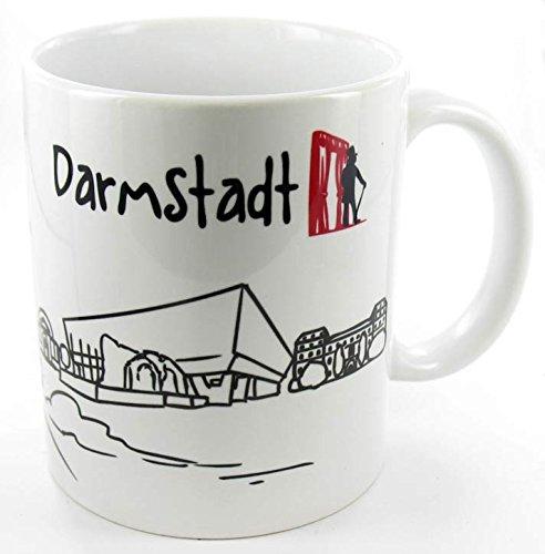 die stadtmeister Keramiktasse Skyline Darmstadt - als Geschenk für Darmstadter & Fans der Stadt des Jugendstils oder als Darmstadt Souvenir