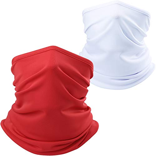 AXBXCX Lightweight Neck Gaiter Neck Warmer Face Mask Windproof Protection for Motorcycle Cycling Fishing Hunting Summer Outdoor Sports Suitable for Men Women Army White + Red