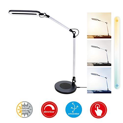 Briloner Leuchten LED Tischleuchte, Tischlampe dimmbar, Farbtemperatursteuerung, Touch-Steuerung, Höhe einstellbar, 6,6 Watt, 700 Lumen, Schwarz, 6.6 W