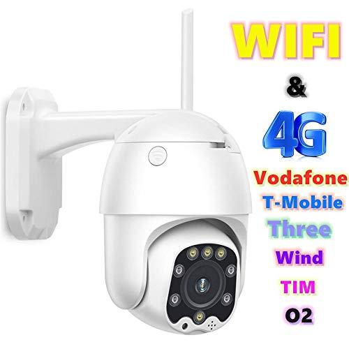AINSS Telecamera IP PTZ WiFi 4G emisfero, Audio bidirezionale, Visione Notturna a infrarossi, rilevazione di Movimento, IP66 Impermeabile, Accesso remoto, Vodafone, O2 1080PWIFIVersion